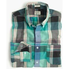 J.Crew Slim Indian madras shirt in teal surf ($55) ❤ liked on Polyvore featuring men's fashion, men's clothing, men's shirts, men's casual shirts, mens slim fit plaid shirts, mens plaid shirts, mens teal dress shirt and mens slim shirts