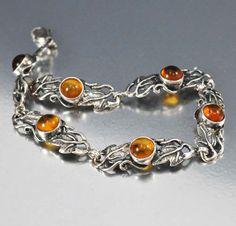 Sterling Silver Baltic Amber Art Nouveau Bracelet