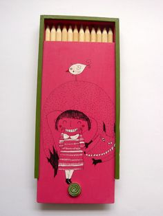Illustrated Wooden Box with 12 Coloured Pencils by Desfigura, $16.00