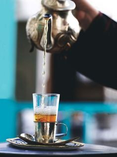 Mint tea in Morocco is poured into the cup from a height, then poured back into the pot - several times. This aerates it and enhances the flavour.