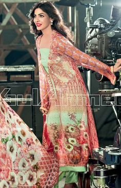 Buy Printed Georgette A-Line Dress by Gul Ahmed Lawn Collection