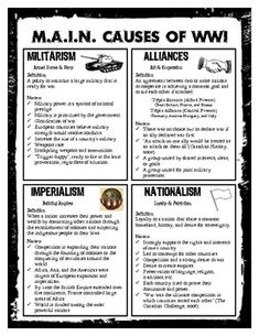 America & World War One (WWI) Graphic Organizer | Note, Teaching ...