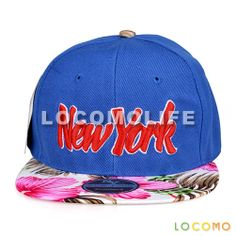 Embroidered New York Floral Pattern Snapback Cap Blue
