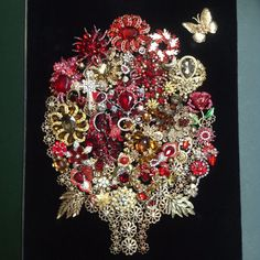 Framed Vintage Costume Jewelry Not Christmas Tree Flower Bouquet Art Shadowbox | Jewelry & Watches, Vintage & Antique Jewelry, Costume | eBay!