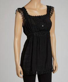Black Lace Empire-Waist Sleeveless Top #zulily #zulilyfinds
