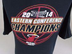 2014 MIAMI HEAT NBA BASKETBALL EASTERN CONFERENCE CHAMPIONS T-SHIRT SIZE L XL  #Gildan #MiamiHeat