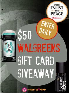 $50 Walgreens Gift Card Giveaway ~ plus everyone can print a $1.00 AXE® Coupon & combine it with a Buy 1, Get 1 50% off sale at Walgreens ENTER DAILY http://freebies4mom.com/kissforpeace (ends Oct. 1) #sponsored