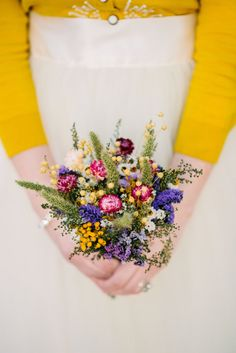 This listing is for a Field Flower Bridesmaid Dried Flower Bouquet. I made this bouquet with fragrant preserved Sweet Annie, Annual Statice, Tansy, Flax, FoxTails, Everlasting Wings and Strawflowers.