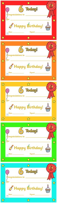 Twinkl Resources  Editable Birthday Certificates Age 6   Classroom printables for Pre-School, Kindergarten, Elementary School and beyond! Certificates, Birthdays, Signs and Labels