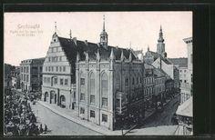 schoene-AK-Greifswald-Markt-mit-Rathaus-und-Markt-Strasse-1922
