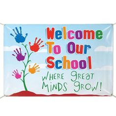 Welcome To Our School Where Great Minds Grow! x Vinyl School Banner Welcome To Our School Where Great Minds Grow! x Vinyl Banner… Think I will change this to Kinder Garden when great minds grow? Kindergarten Bulletin Boards, Classroom Bulletin Boards, Preschool Classroom, Preschool Activities, School Welcome Bulletin Boards, Welcome Boards, Children Activities, Classroom Door, School Board Decoration