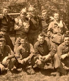 "Easy Company, 1st Platoon, 2nd Squad - 1945 Front Row (L-R): unknown; Joseph D. Liebgott; Woodrow W. Robbins (.30cal A-Gunner); Frank J. Perconte Back Row (L-R): Burton P. Christenson; unknown; Squad Leader SGT Denver ""Bull"" Randleman; unknown;..."