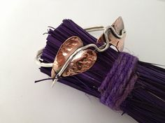 Sterling silver and copper heart bangle by silvermeadows on Etsy, $55.00