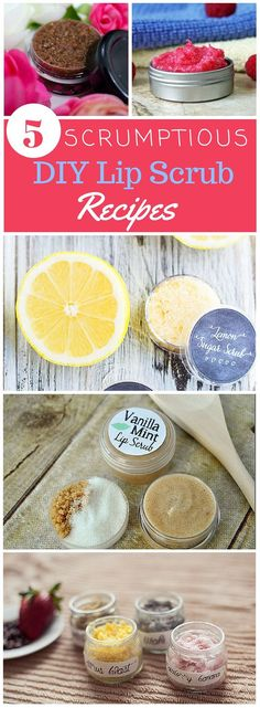 Give your lips some much needed love with a Scrumptious DIY Lip Scrub Recipe. Homemade lip scrubs only require a few ingredients and are super easy to whip up!: