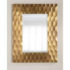 Brass Hexagon Mirror featuring polyvore home home decor mirrors brass polished brass mirror brass home accessories hexagon mirror brass home decor beveled mirror