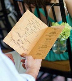 wedding ceremony program printed on cherry wood veneer