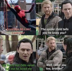 peter and loki's friendship>>> Damn ir. sO SweEt! Marvel Quotes, Funny Marvel Memes, Dc Memes, Avengers Memes, Marvel Films, Marvel Dc Comics, Marvel Heroes, Marvel Avengers, Superhero Memes