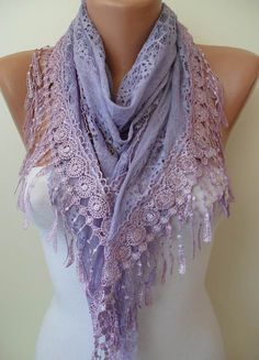 Lilac Scarf with Lilac Trim Edge  Laced Dantela by SwedishShop, $17.90