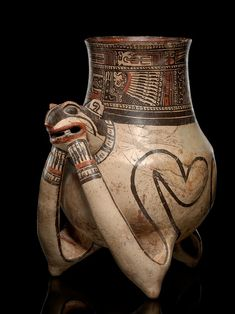 The tripod form was a common one for vessels but here the artist plays with the form to help enhance the animal's figure. Greater Nicoya tripod vessel in the form of an agouti, AD 1000–1350 Nicoya, Guanacaste Province, Costa Rica Pottery