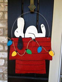 Christmas Dog Burlap Door Hanger by ILoveItDesigns on Etsy, $35.00: