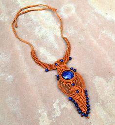 Isis Goddess Necklace/ Macrame Necklace/ Blue Gemstone/ Healing Stone/ Statement Jewelry/ Yogi Jewelry/ Peruvian Jewelry