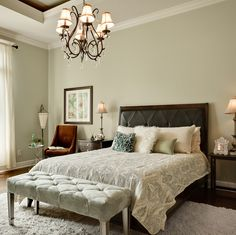 Sage Green Master Bedroom ...love the colors and the tufted bench at the foot of the bed...plus the cozy corner