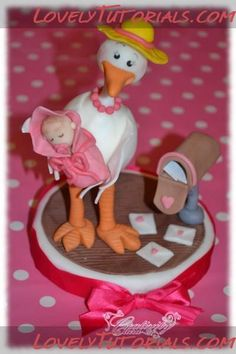 how to make gumpaste Stork with baby