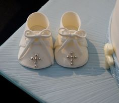 How to make baby boy christening shoe cake topper with fondant or gumpaste