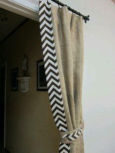 Chevron curtain - no stenciling involved!