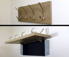 Modern coat rack w/ hidden compartment for covert storage of jewelry, guns, weapons, self defense, etc. Keep valuables concealed and safe.