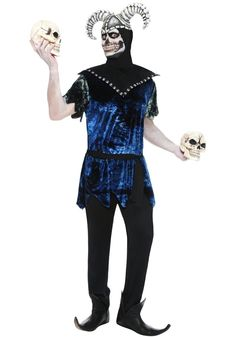 The Corrupt Court Jester Costume includes a black and blue crushed velvet effect tunic and a black collar with white patterning. Best Female Halloween Costumes, Jester Halloween, Jester Costume, Halloween Circus, Circus Costume, Halloween Costume Accessories, Costume Halloween, Halloween Outfits, Costume