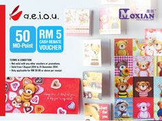 Check out this MO-Vouchers! A.E.I.O.U RM 5 Cash Rebate Voucher. Visit MO-Vouchers Page: http://moxian.com/moreward/coupons/53c5e1c67f8b9a3e4b8b45fe p/s: Valid from 1st August 2014 to 31st December 2014. - Only applicable for RM 30.00 or above per receipt.