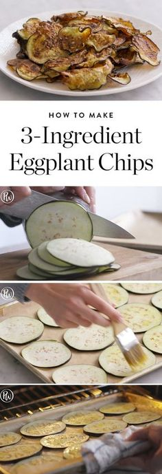 Chips Are the Easy Snack You Can Make in 20 Minutes Eggplant chips are the magical veggie alternative that's just as delicious and surprisingly healthy.Eggplant chips are the magical veggie alternative that's just as delicious and surprisingly healthy. Gourmet Recipes, Keto Recipes, Cooking Recipes, Healthy Recipes, Snacks Recipes, Healthy Eggplant Recipes, Aubergine Recipe Healthy, Mini Eggplant Recipe, Healthy Food Alternatives