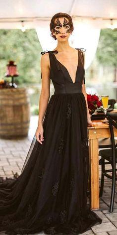 Dark Romance: 27 Gothic Wedding Dresses ❤ gothic wedding dresses a line deep v neckline black frenchknotcouture ❤ #weddingdresses