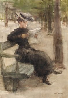 """""""An elegant lady reading in the Bois de Boulogne, Paris Isaac Lazarus Israëls (Dutch, Watercolour on paper. Israëls was often inspired by the beauty of the young 'Parisiennes' whom he encountered in parks like. Reading Art, Woman Reading, Reading Books, Books To Read For Women, Dutch Painters, Elegant Woman, Female Art, Illustration Art, Illustrations"""