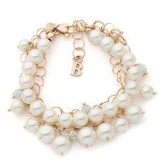 Bracciale multifilo argento rosato perle strass
