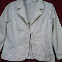Embroidered blazer Nice one button blazer with embroidered stitching across back and along the hem at bottom on front . Very nice off white color with a collar.100% cotton. Smoke and stain free Cato Jackets & Coats Blazers
