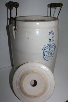 Antique Crock 3 Gallon Butter Churn Acorn UHL by TalesofTime, $130.00