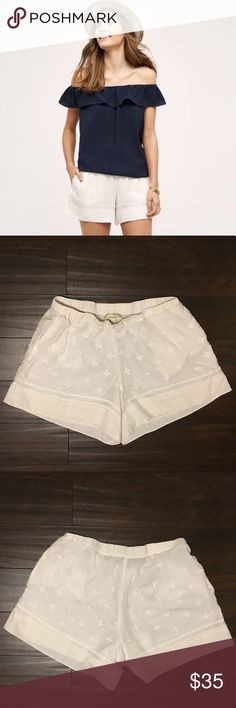 Anthropologie Elevenses Costa Maya Shorts These are Anthropologie Elevenses Costa Maya ivory white embroidered shorts. They have pockets. They are in great condition and are a size medium. Sold out online. Anthropologie Shorts