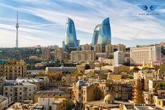 Panoramic view of Baku - the capital of Azerbaijan located by the Caspian See shore. Azerbaijan Travel, Baku Azerbaijan, Monte Everest, Baku City, Cities, Aktiv, Day Tours, World Heritage Sites, Grand Prix