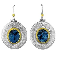 Gurhan Sterling Silver 24k Gold Paua Shell Drop Earrings