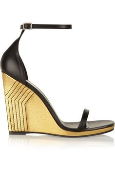 Love these shoes by SAINT LAURENT Jane Metallic Leather Wedge Sandals - $1095