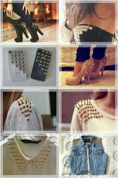 Tachas 💗💗💗💗 another I adore Bordados E Cia, Diy Fashion Accessories, Studded Denim, Clothing Hacks, Clothing Ideas, Vogue Fashion, Refashion, Pretty Outfits, Fresh Outfits