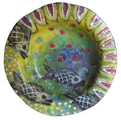Fish bowl earthenware clay ceramic slab underglaze and lustre Earthenware Clay, Project Ideas, Projects, Mosaic, Pottery, Fish, Ceramics, Drawings, Tableware