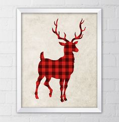 Deer Art Print, 8x10 Printable Digital file, Wall art, Home decor, Lumberjack, Red Buffalo Plaid, Watercolor, Instant Download on Etsy, $5.00