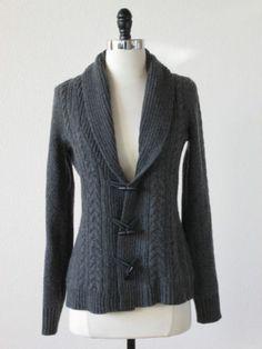 Banana Republic Grey Wool Shawl Collar Toggle Button Cardigan Sweater S | eBay