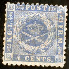 Danish West Indies SC #4 A1 4¢ blue, perf 12 ½ ,WM Small Crown 1873 M H OG