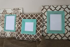 """A fun set of three frames I made to match a customer magnet board in her home. She was hanging the two 5x7 on either side and putting the 4x4 on the table underneath. The turquoise is such a fun way to brighten up any color and the chocolate and cream are so very neutral! I love just a little pop of color!  Set of 3 FRAMES:  2-5x7 with 4"""" wood {12x14 overall in size, 1"""" deep}  1-4x4 4"""" wood {11x11 overall