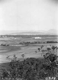 Parliament House and East Block from Russell Hill. http://mildenhall.moadoph.gov.au/photo/861