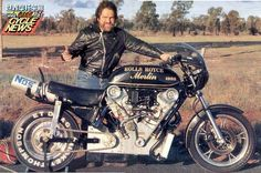 I had this photo hanging on my wall when I was a kid. The bike has 5000 cc. and was built by Lucky Keizer. This V2 engine was cut from a V12 engine from a Mosquito bomber.